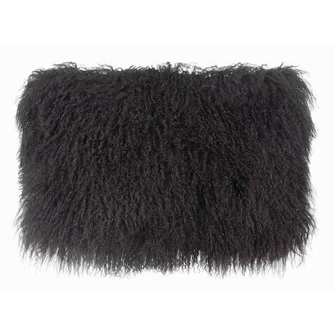 Dark Grey Tibetan Sheep Long Throw Pillow