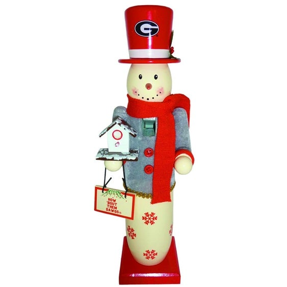 "14"" NCAA University of Georgia Bulldogs Wood Snowman Christmas Table Top Figure"