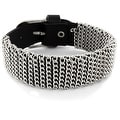 Black Leather Bracelet with Chain Links Wrap All Around (22 mm) - 8.5 in - Thumbnail 0
