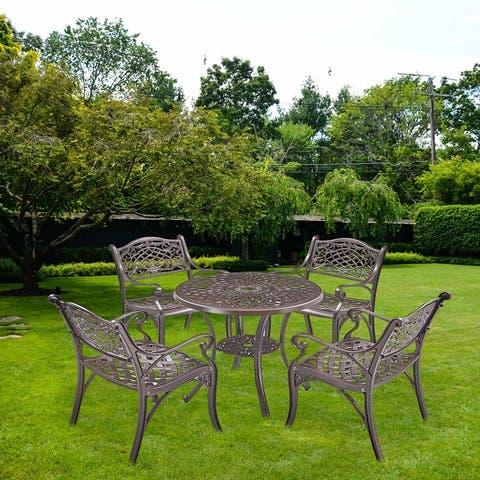 Global Pronex Set of 5 Cast Aluminum Garden Furniture, Antique Bronze