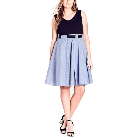 City Chic Women's Blue Large 20 Plus A-Line Striped Skirt Belted Dress
