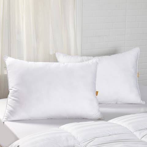 2 Pack Goose Feather Down Bed Pillow - White