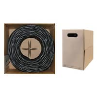 Offex Bulk Cat6 Black Ethernet Cable, Solid, UTP (Unshielded Twisted Pair), Pullbox, 1000 foot