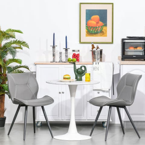 HOMCOM Modern Round Dining Table with Spacious Tabletop and Metal Base for Kitchen or Dining Room, Faux White Marble
