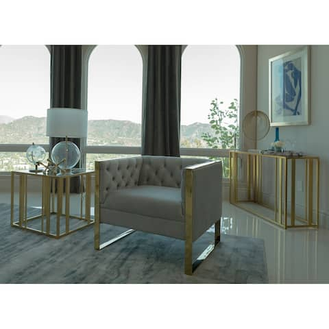 Silver Orchid Strandin Grey Tufted Back Chair