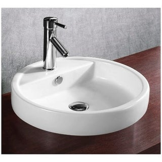"Nameeks CA4039A Caracalla 19-14/15"" Ceramic Drop In Bathroom Sink with 1 Faucet Hole and Overflow"