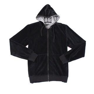 WELLINGTON Black Mens Size 2XL XXL Velour Full Zip Hooded Sweater