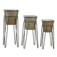 Aspire Home Accents 5803 Onslow Set of 3 Square Metal Planters - Brown - N/A