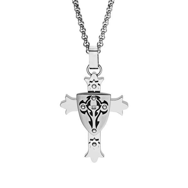 Black & Blue Men's Crest Cross Pendant with Diamond in Stainless Steel