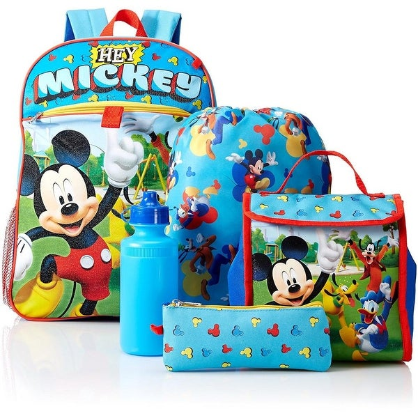 0e3872ed94e Shop Disney Boys Mickey Mouse Backpack Lunch 5-Piece Set - Free Shipping On  Orders Over  45 - Overstock - 18616609