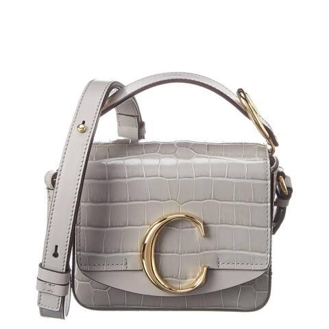Chloe C Mini Croc-Embossed Leather Shoulder Bag