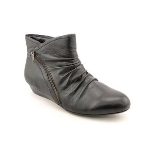 Array Cheyenne Women W Round Toe Leather Black Ankle Boot
