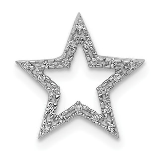 14K White Gold Small Diamond Star Chain Slide Pendant with 18-inch Cable Rope Chain by Versil