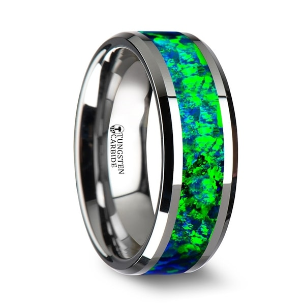 PHOTON Tungsten Wedding Band with Beveled Edges and Emerald Green & Sapphire Blue Color Opal Inlay