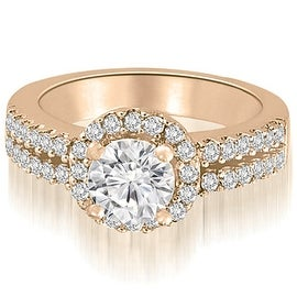 1.13 cttw. 14K Rose Gold Two Row Round Cut Halo Diamond Engagement Ring
