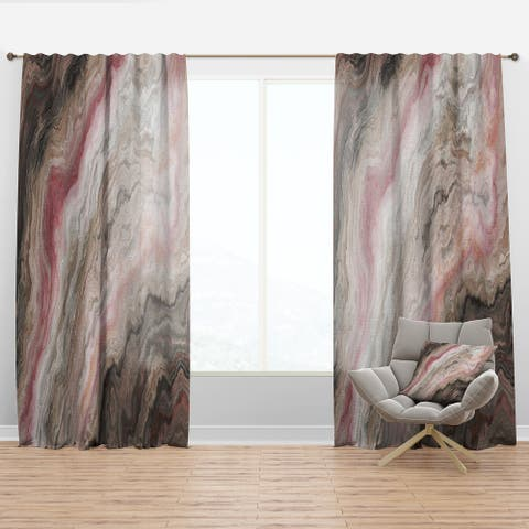 Designart 'Grey Onyx with Rose Inclusions' Mid-Century Modern Curtain Panel