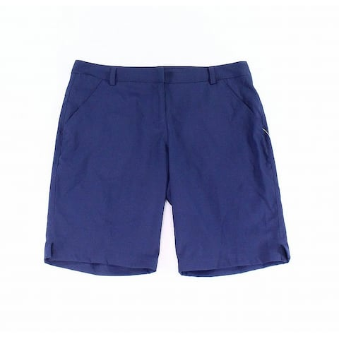 Puma Womens Shorts Blue Size 12 Performance Flat-Front Bermuda Walking