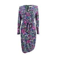 Rachel Rachel Roy Women's Floral-Print Self-Tie Wrap Dress - Green Combo