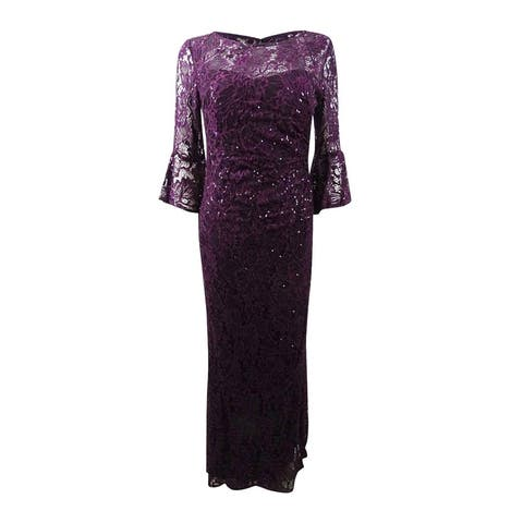 Nightway Women's Sequin-Embellished Lace Gown (8, Mulberry)
