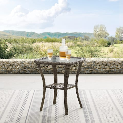 Corvus Salerno Outdoor 22-inch Wicker Glass Table