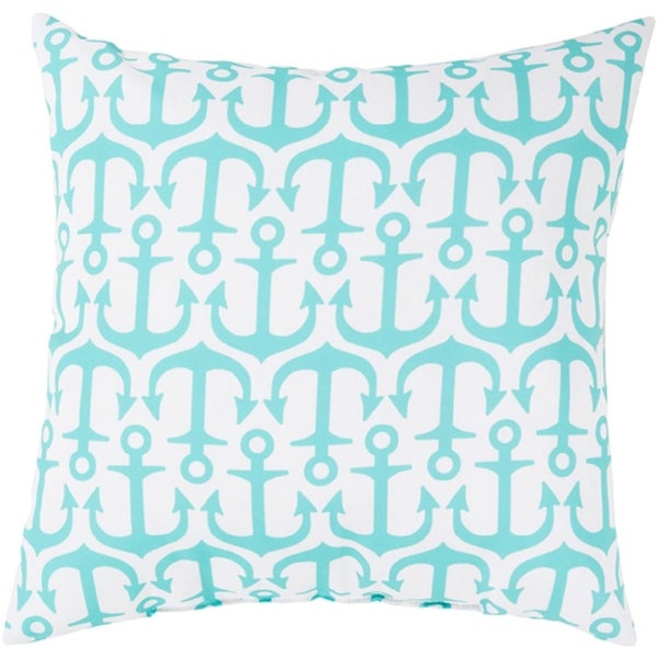 "20"" Aqua Blue and Lily White Raining Anchors Decorative Throw Pillow"