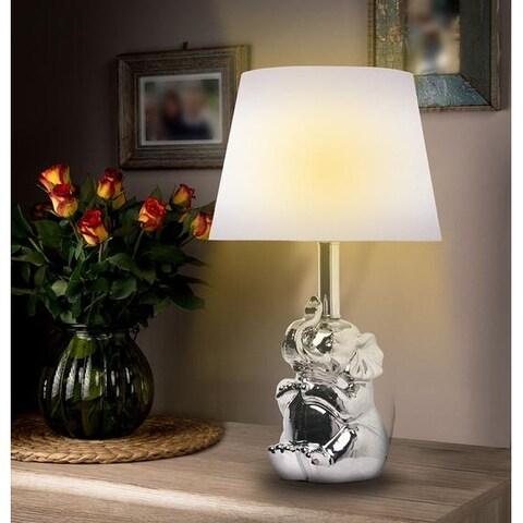 "KANSTAR 19""Ceramic Elephant Table Lamp (silver)"