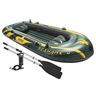 Intex Seahawk 4 INFLATABLE BOAT, 4 Person Aluminum Oars & Pump INFLATABLE RAFT