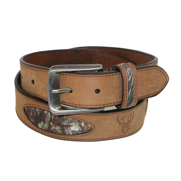 Hickory Creek Men's Crazy Horse Leather with Camo Inlays Deer Embossed Belt