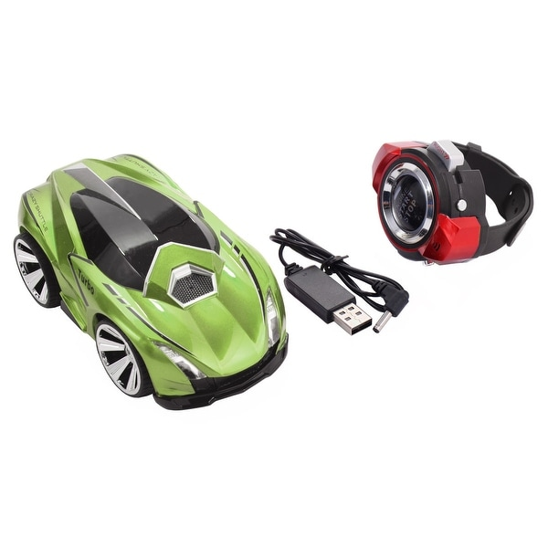 92027dba777 Costway 2.4G Voice Command Car Smart Watch Remote Control RC Racing Toy Car  Green