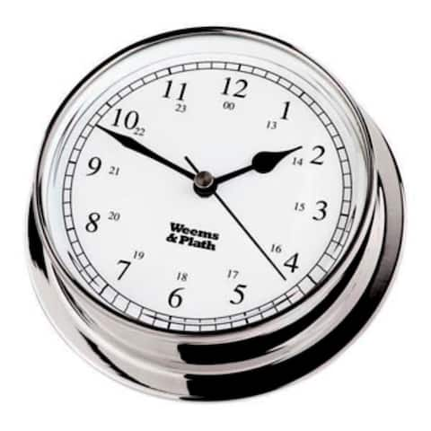 """6"""" Silver and White Antique Finish Round Shaped Desk Clock"""