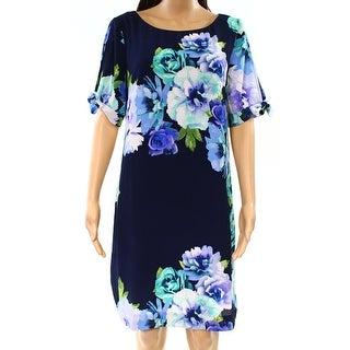 Eliza J NEW Blue Womens Size 12 Floral-Print Tie-Sleeve Sheath Dress