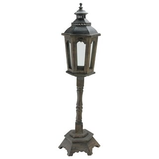 "29.5"" Brown Classic Wooden Lamp Post Pillar Candle Lantern - N/A"