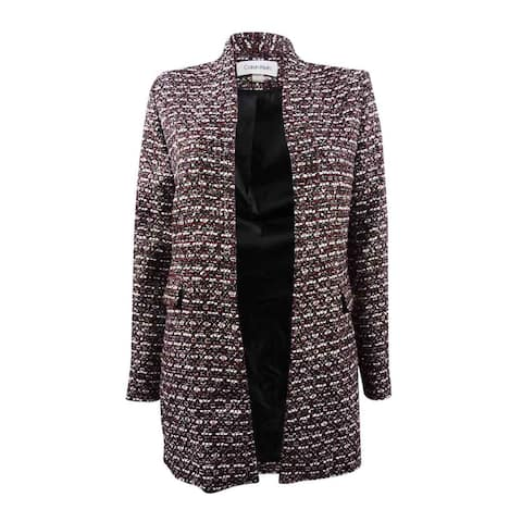 Calvin Klein Women's Tweed Open-Front Jacket - Black/Red