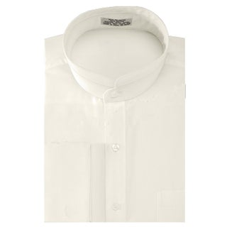 Men's Solid Banded Collar French Cuff Dress Shirt Solid Color (Option: 32/33 - ivory - 14.5 - 14.5 32-33)