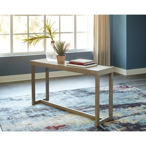 "Challene Light Gray Sofa Table - 60""W x 16""D x 31""H. Opens flyout."