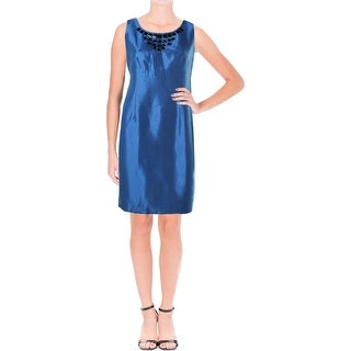Kasper Womens Petites Province Shimmer Rhinestone Wear to Work Dress