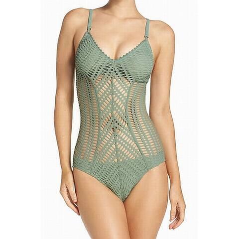 Robin Piccone Green Women's Size 6 One-Piece Crochet Swimwear