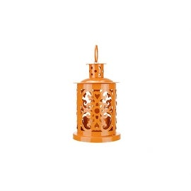 "5.5"" Shiny Orange Mini Votive or Tealight Candle Holder Lantern with Dot and Scroll Cutouts"