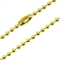 Yellow Gold Color Steel 2mm Ball Chain Necklace 17.5 Inches