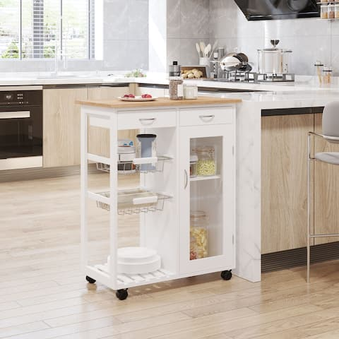HOMCOM 28 Rolling Kitchen Trolley Serving Cart Storage Cabinet Bamboo Top with Wire Basket & Glass Door & Drawers - White
