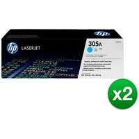 HP 305A Cyan Original LaserJet Toner Cartridge (CE411A)(2-Pack)