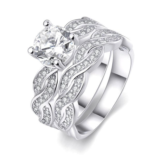White Gold Plated Double Layer Ring