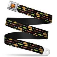 Hamburger Full Color Black Bob's Burgers Burger Elements Black Webbing Seatbelt Belt
