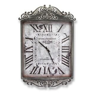 "Pack of 2 Metal Scroll Top Design Roman Numerals Decorative Wall Clocks 24"""