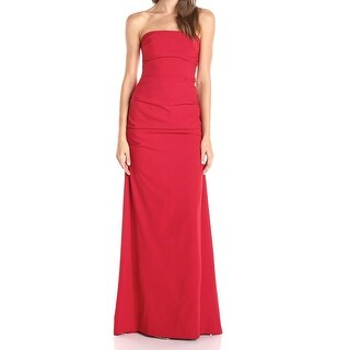 Nicole Miller NEW Red Women's Size 12 Strapless Ruched Gown Dress