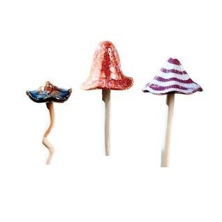 Art & Artifact Ceramic Mushroom Garden Stakes - Set of 3 Hand Painted Outdoor Decor