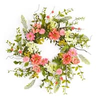 Pack of 2 Cottage Style Green and Pink Artificial Cosmos and Berry Wreaths 27""