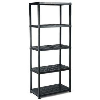 "Gymax 5-Tier Storage Shelving Freestanding Heavy Duty Rack,28""XL X 15""W X 67""H,Black"