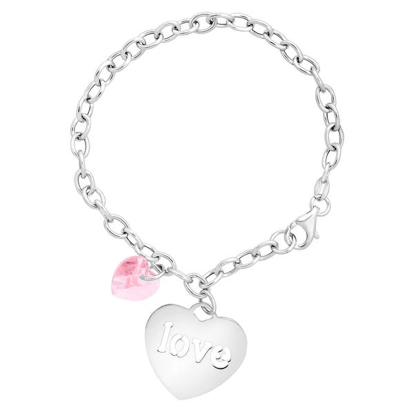 Crystaluxe Charm Bracelet with 'Love' Charm & Swarovski elements Crystal in Sterling Silver