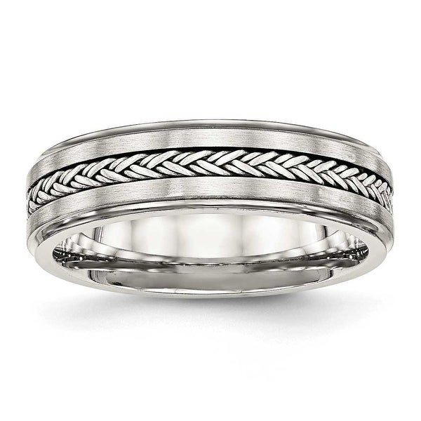 Stainless Steel Polished & Brushed with Silver Braid Inlay Ring (6 mm) - Sizes 8 - 13